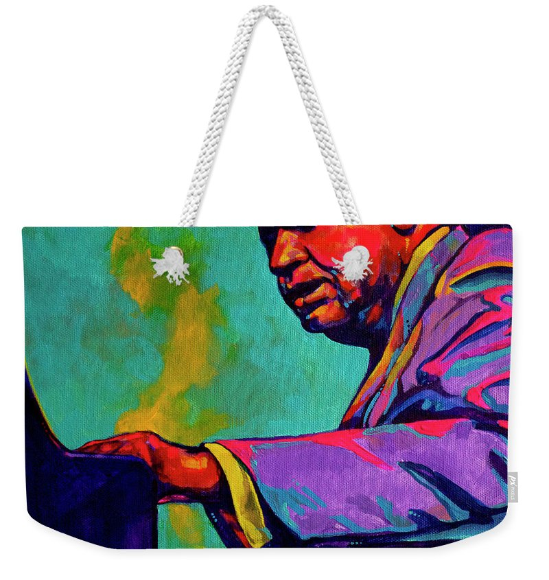 Acrylic Weekender Tote Bag featuring the painting Piano Player by Derrick Higgins