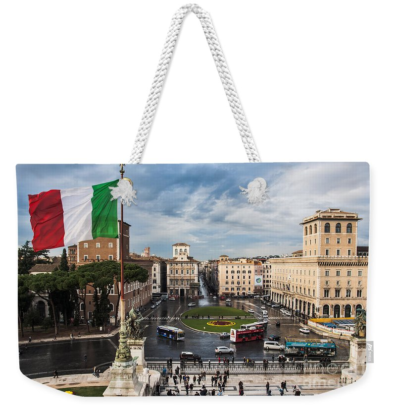 Europe Weekender Tote Bag featuring the photograph Piazza Venezia by John Wadleigh