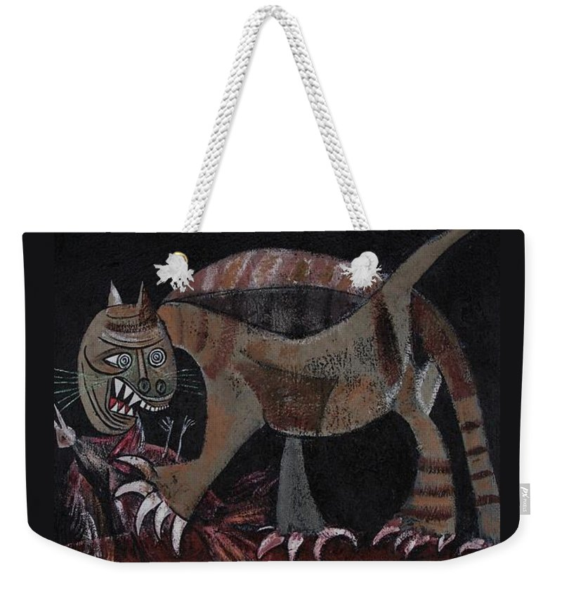 Picasso Weekender Tote Bag featuring the painting Picassos' Cat by Sue Wright