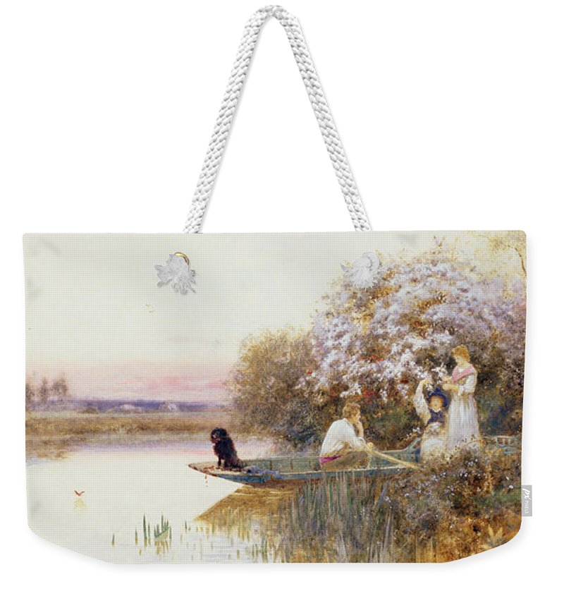 Landscape Weekender Tote Bag featuring the painting Picking Blossoms by Thomas James Lloyd
