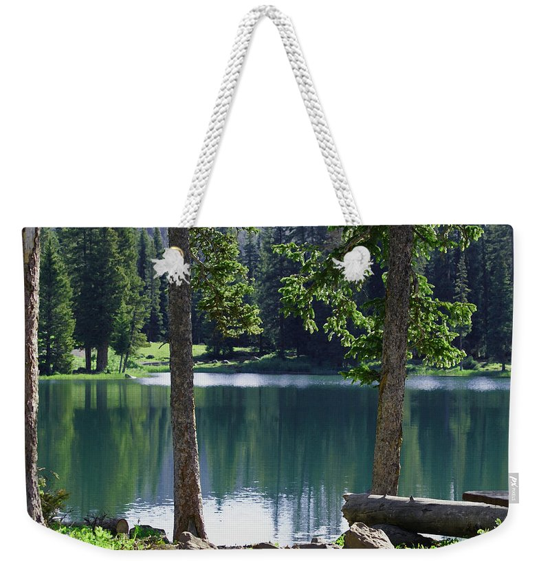 Lakes Weekender Tote Bag featuring the digital art Picnic By The Lake by Ernie Echols