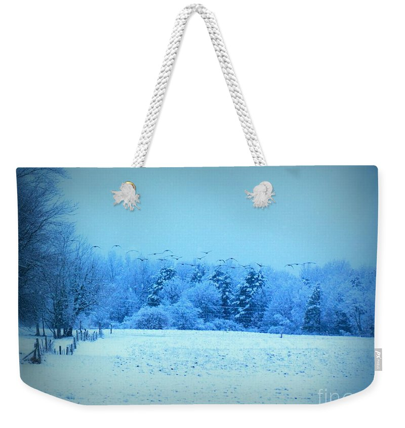 Geese Weekender Tote Bag featuring the photograph Picture Perfect Landing by Elizabeth Dow