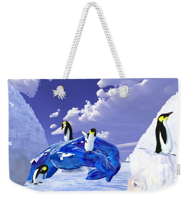 Nature Weekender Tote Bag featuring the digital art Piece Of Ice by Eric Nagel