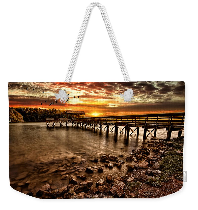 Pier Weekender Tote Bag featuring the photograph Pier At Smith Mountain Lake by Joshua Minso