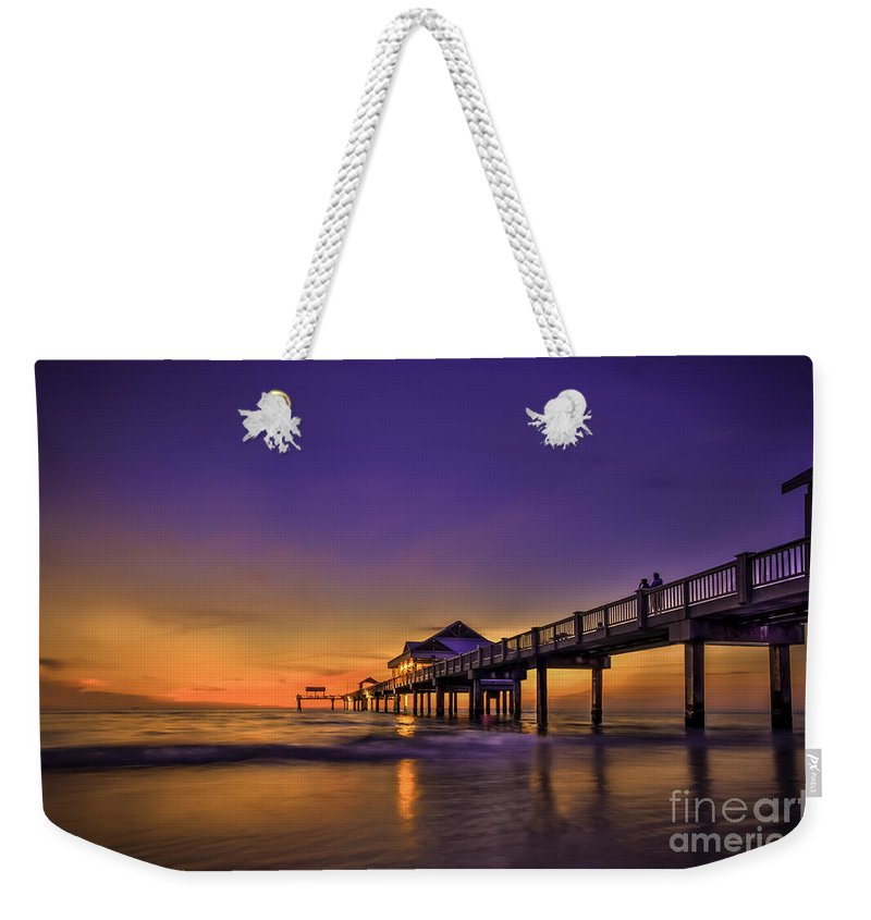 Clearwater Pier Weekender Tote Bag featuring the photograph Pier Reflections by Marvin Spates