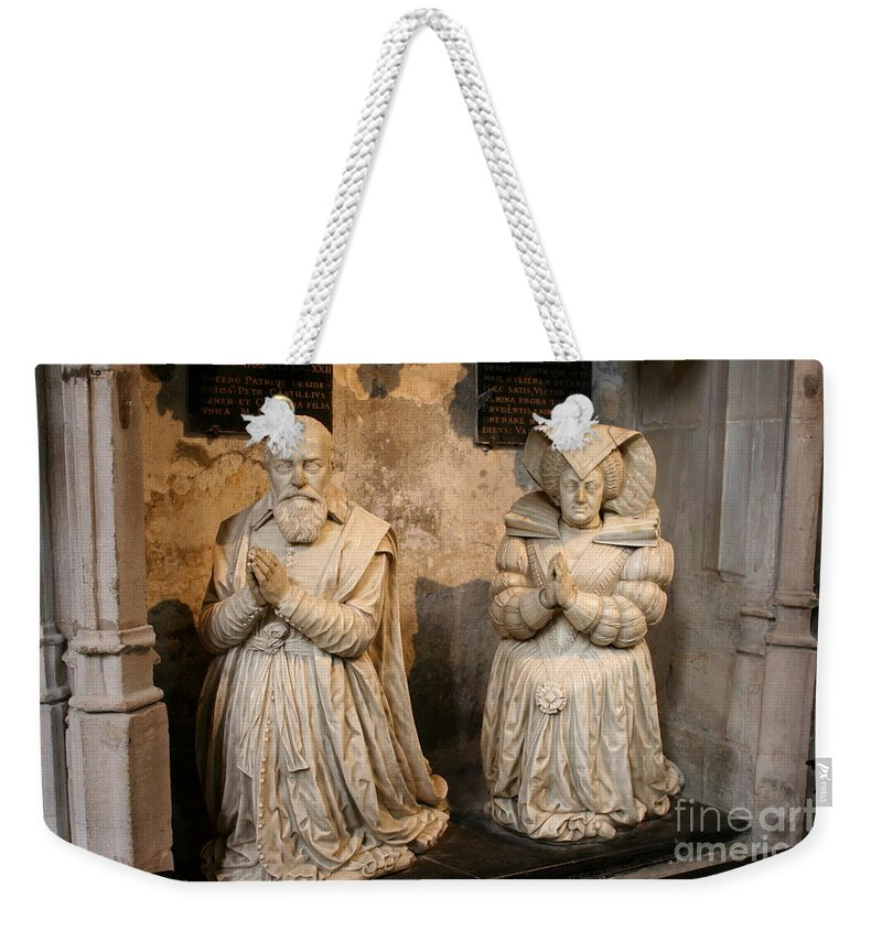 Sculpture Weekender Tote Bag featuring the photograph Pierre Jeannin And His Wife Sculpture Cathedral Autun by Christiane Schulze Art And Photography