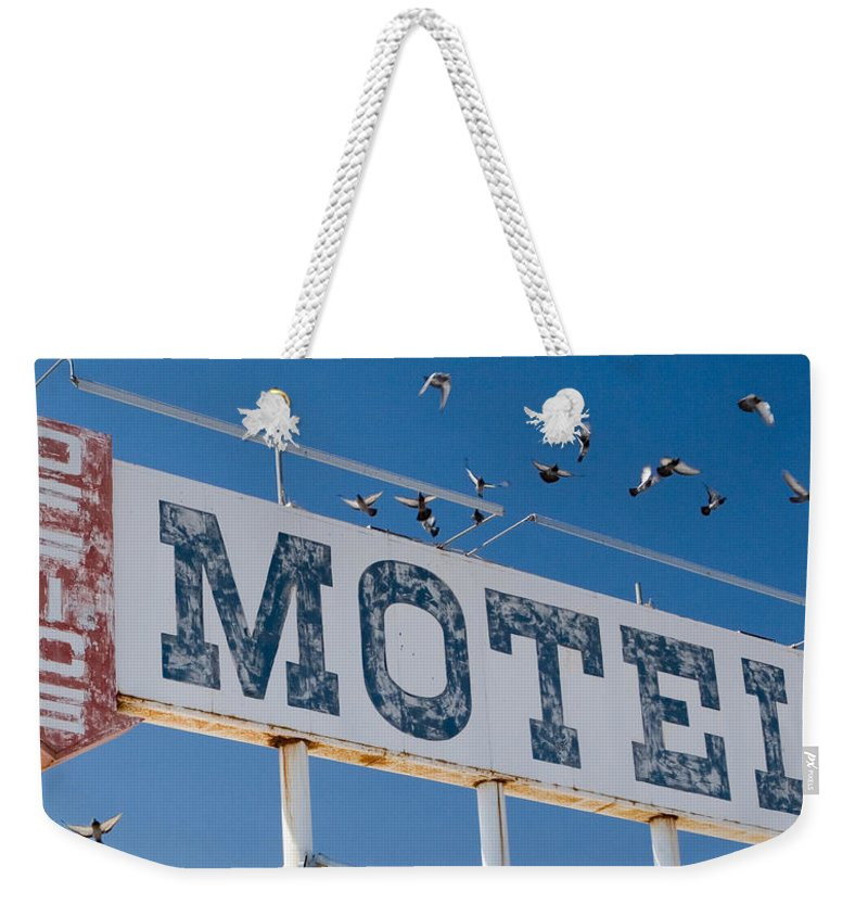 Sign Weekender Tote Bag featuring the photograph Pigeon Roost Motel Sign by Scott Campbell