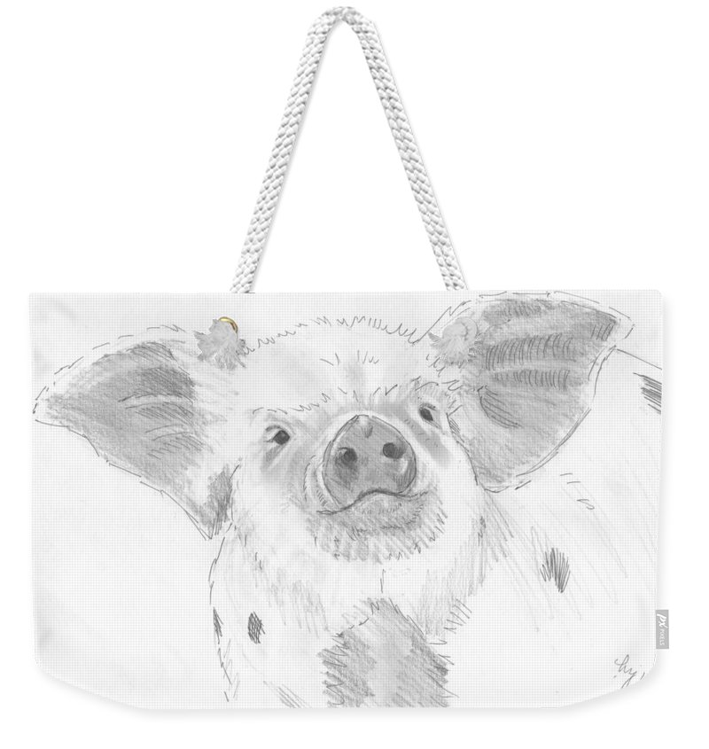 Pig Weekender Tote Bag featuring the drawing Piglet  by Mike Jory