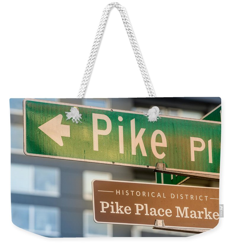 Pike Weekender Tote Bag featuring the photograph Pike Place Market Sign by Steve Gadomski
