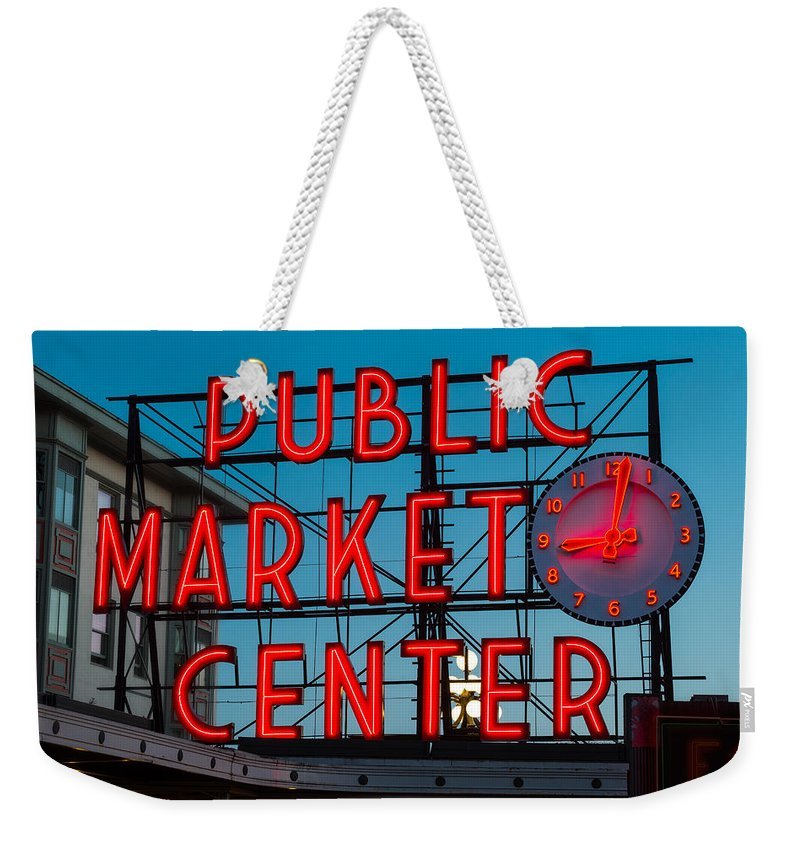 Pike Weekender Tote Bag featuring the photograph Pike Place Public Market Seattle by Steve Gadomski