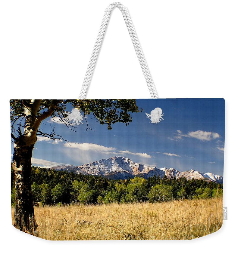 Pikes Peak Weekender Tote Bag featuring the photograph Pikes Peak And Snow by Carol Milisen