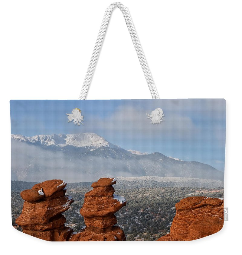 Garden Of The Gods Weekender Tote Bag featuring the photograph Pikes Peak In The Clouds by Ronda Kimbrow