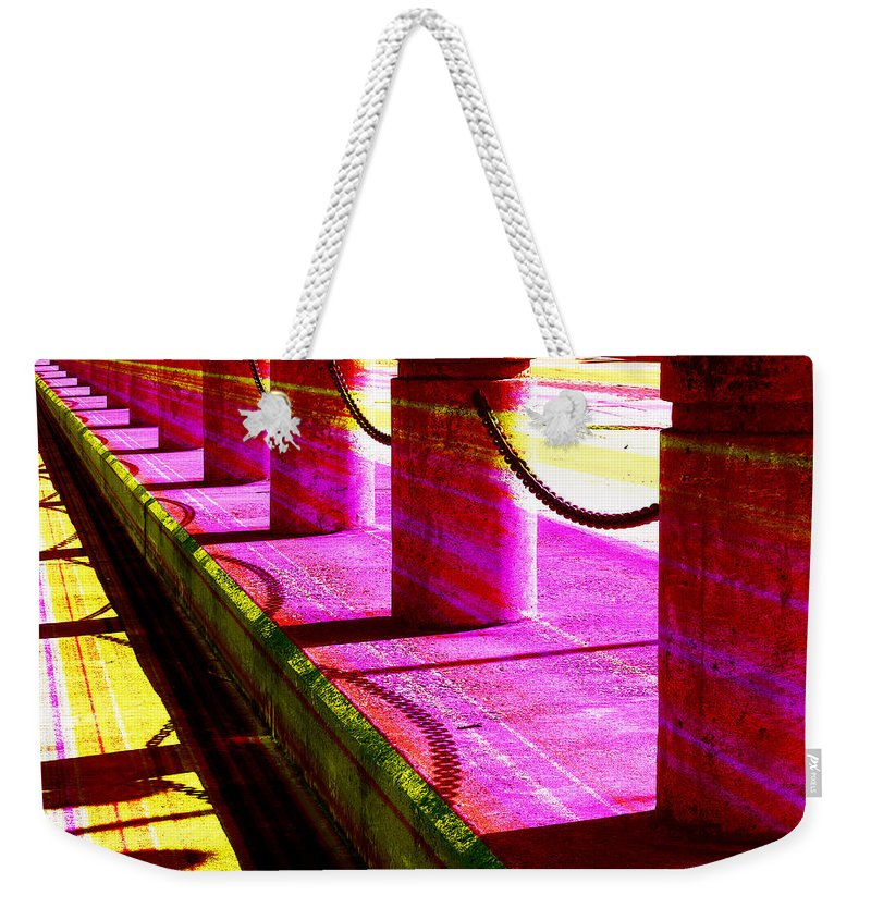 Colorful Weekender Tote Bag featuring the photograph Pillars And Chains - Color Rays by Shawna Rowe