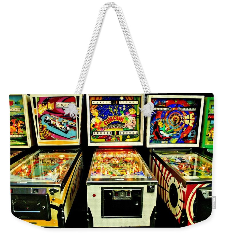 Pinball Weekender Tote Bag featuring the photograph Pinball Past Time by Benjamin Yeager