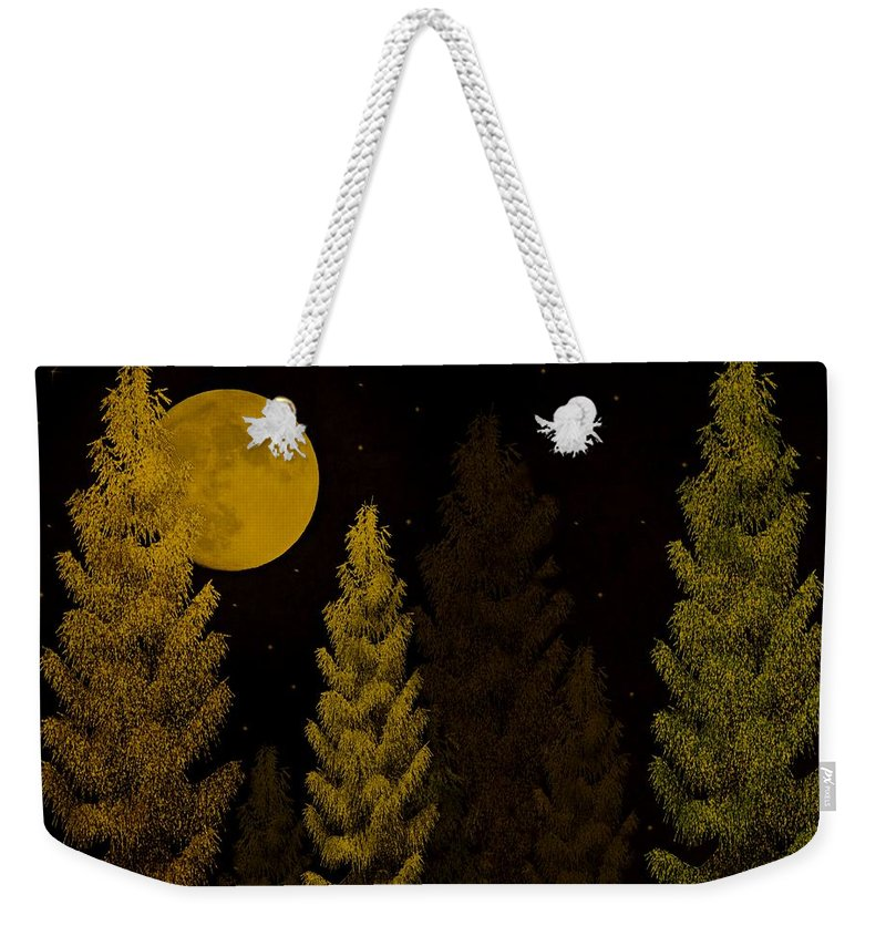 Pine Weekender Tote Bag featuring the photograph Pine Forest Moon by David Dehner