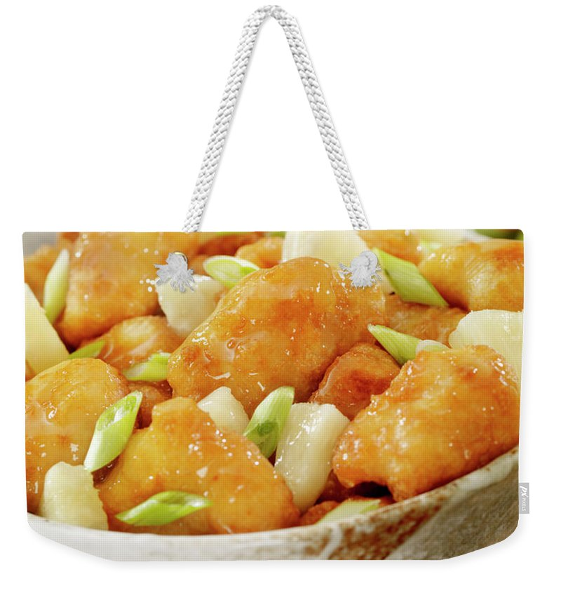 Lemon Chicken Weekender Tote Bag featuring the photograph Pineapple Chicken by Lauripatterson