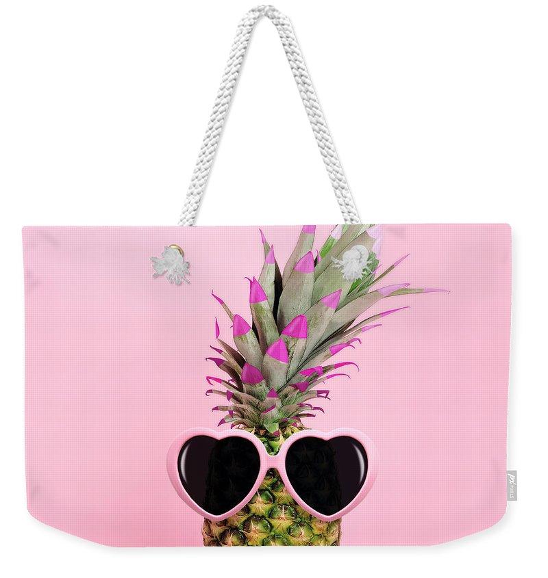 Food Weekender Tote Bag featuring the photograph Pineapple Wearing Sunglasses by Juj Winn