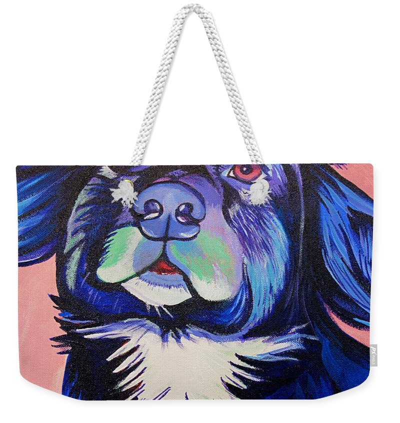 Dog Portraits Weekender Tote Bag featuring the painting Pink And Blue Dog by Joshua Morton