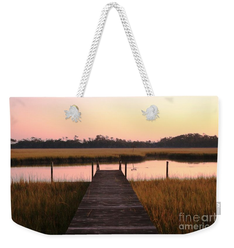 Pink Weekender Tote Bag featuring the photograph Pink And Orange Morning On The Marsh by Nadine Rippelmeyer
