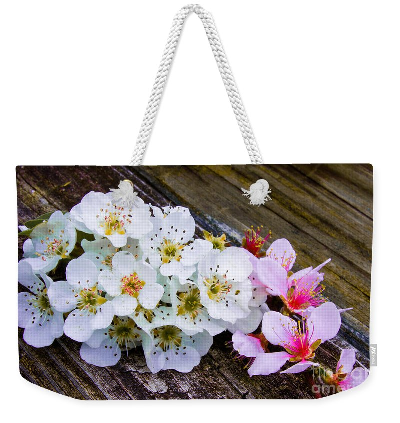 Pink Weekender Tote Bag featuring the photograph Pink And White 2 by Scott Hervieux