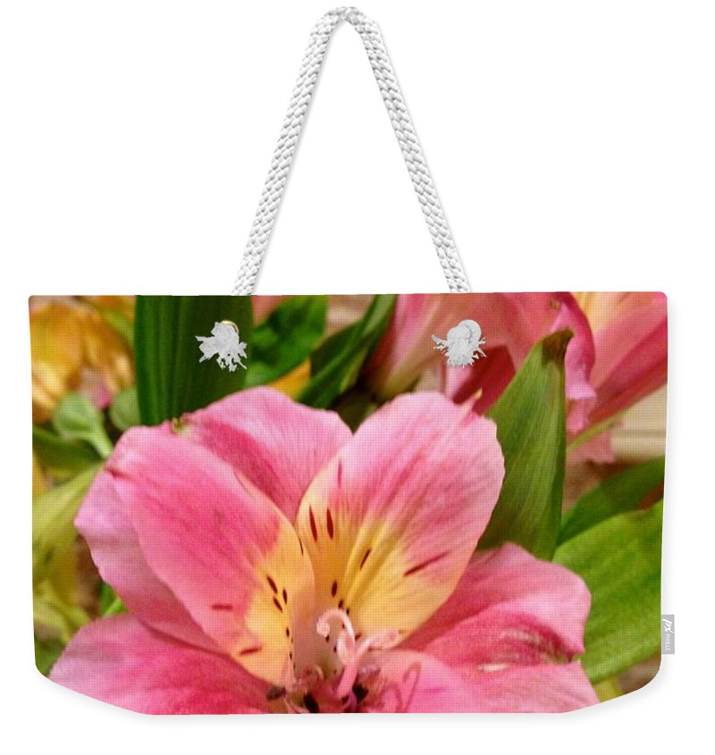 Beauty Weekender Tote Bag featuring the photograph Pink And Yellow Flowers by Christy Gendalia