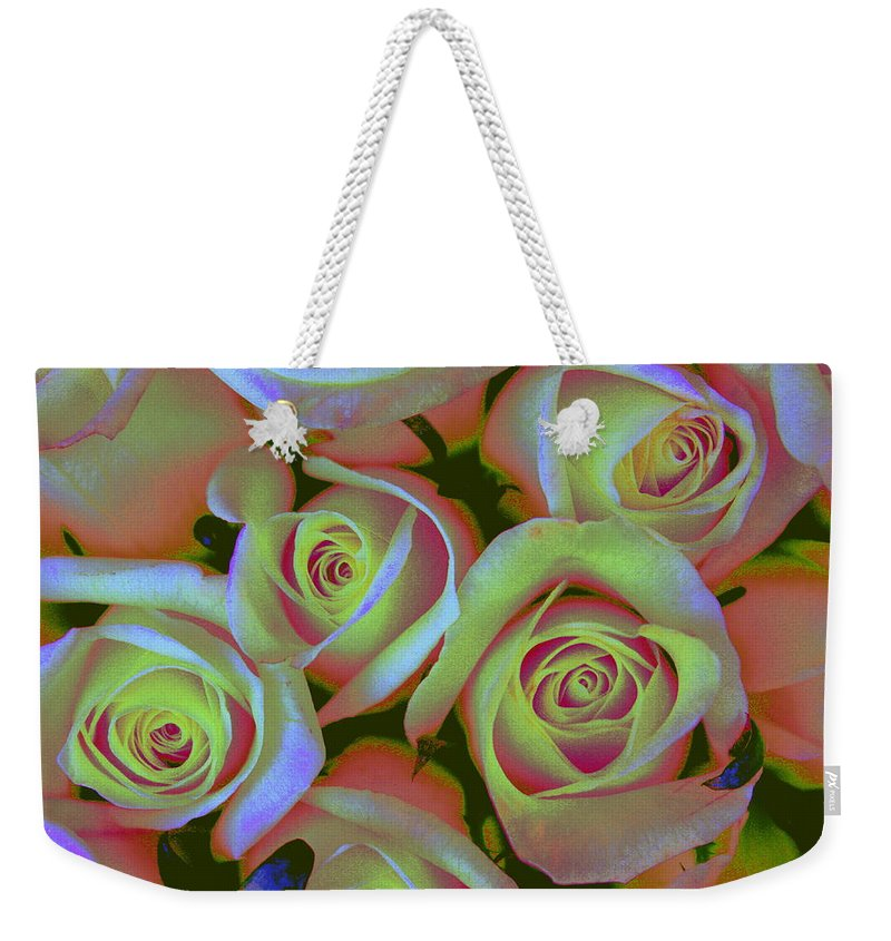 Roses Weekender Tote Bag featuring the photograph Pink And Yellow Roses Pop Art by Dora Sofia Caputo Photographic Design and Fine Art