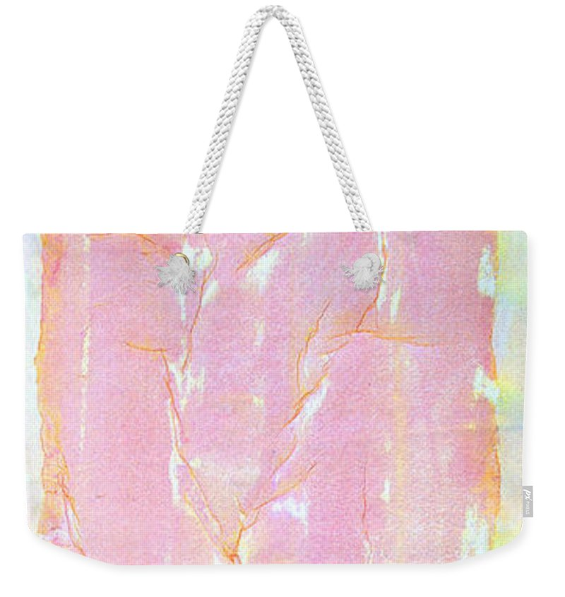 Abstract Painting Weekender Tote Bag featuring the painting Pink Angel Softly Passing by Asha Carolyn Young