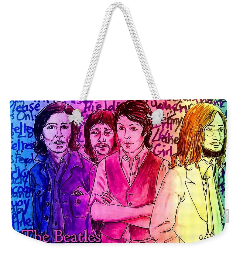 The Beatles Weekender Tote Bag featuring the photograph Pink Beatles From Rainbow Series by Joan-Violet Stretch