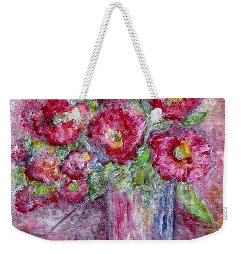 Watercolor Weekender Tote Bag featuring the painting Pink Beauties In A Blue Crystal Vase by Eloise Schneider Mote