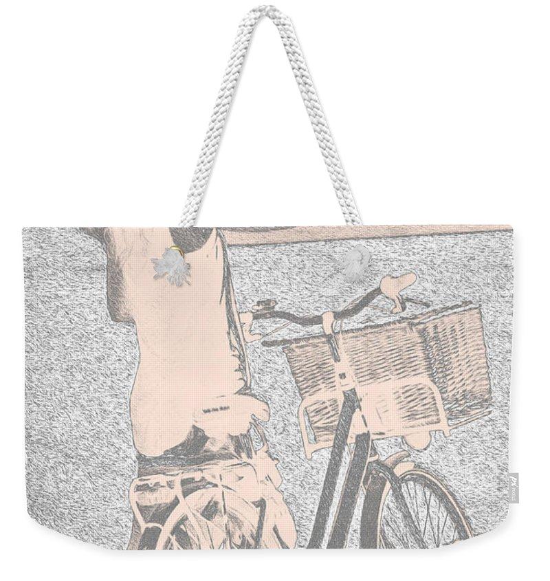 Bike Weekender Tote Bag featuring the photograph Pink Bike by Sotiris Filippou