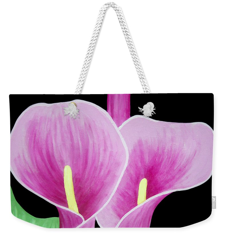 Flowers Weekender Tote Bag featuring the painting Pink Calla Lilies 1 by Angelina Vick