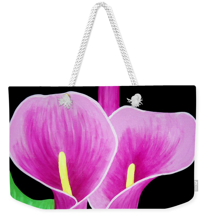 Pink Weekender Tote Bag featuring the painting Pink Calla Lillies 2 by Angelina Vick