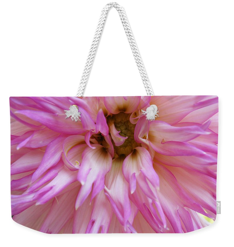Dahlia Weekender Tote Bag featuring the photograph Pink Dahlia by Lisa Foster