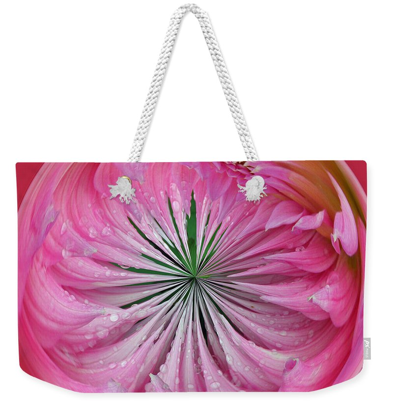 Pink Weekender Tote Bag featuring the photograph Pink Dahlia Orb by Tikvah's Hope