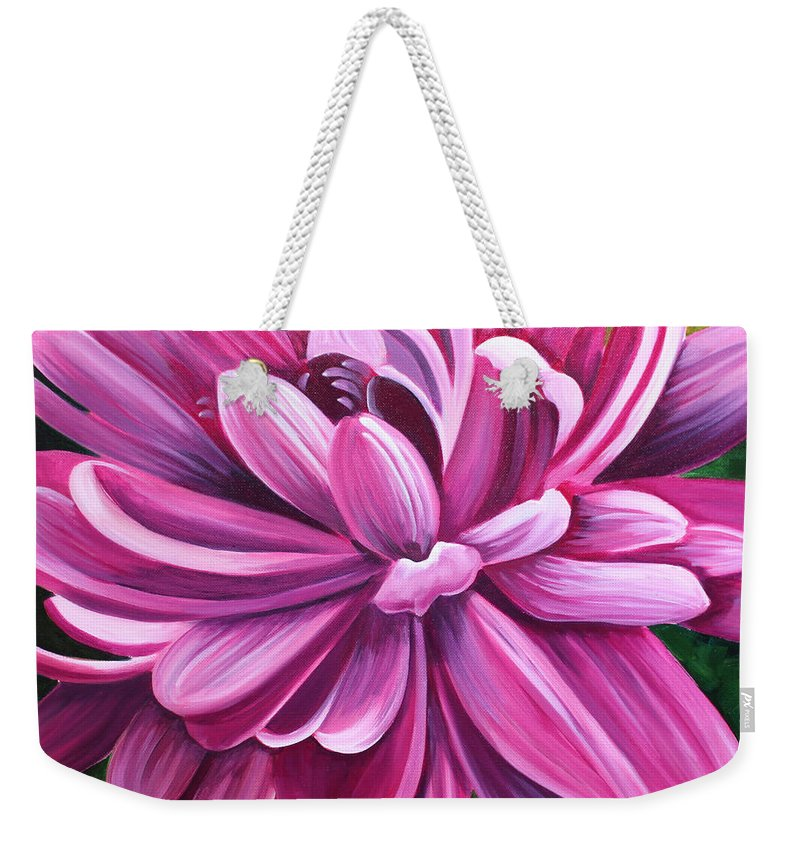 Pink Weekender Tote Bag featuring the painting Pink Flower Fluff by Debbie Hart