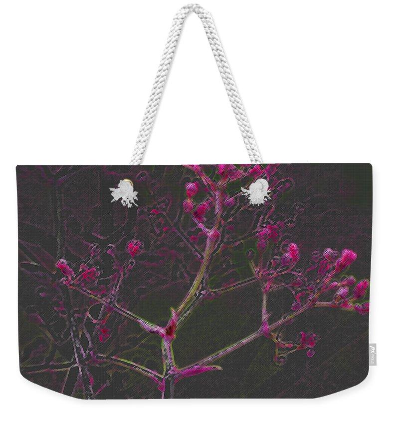 Pink Weekender Tote Bag featuring the digital art Pink Flowers by Carol Lynch