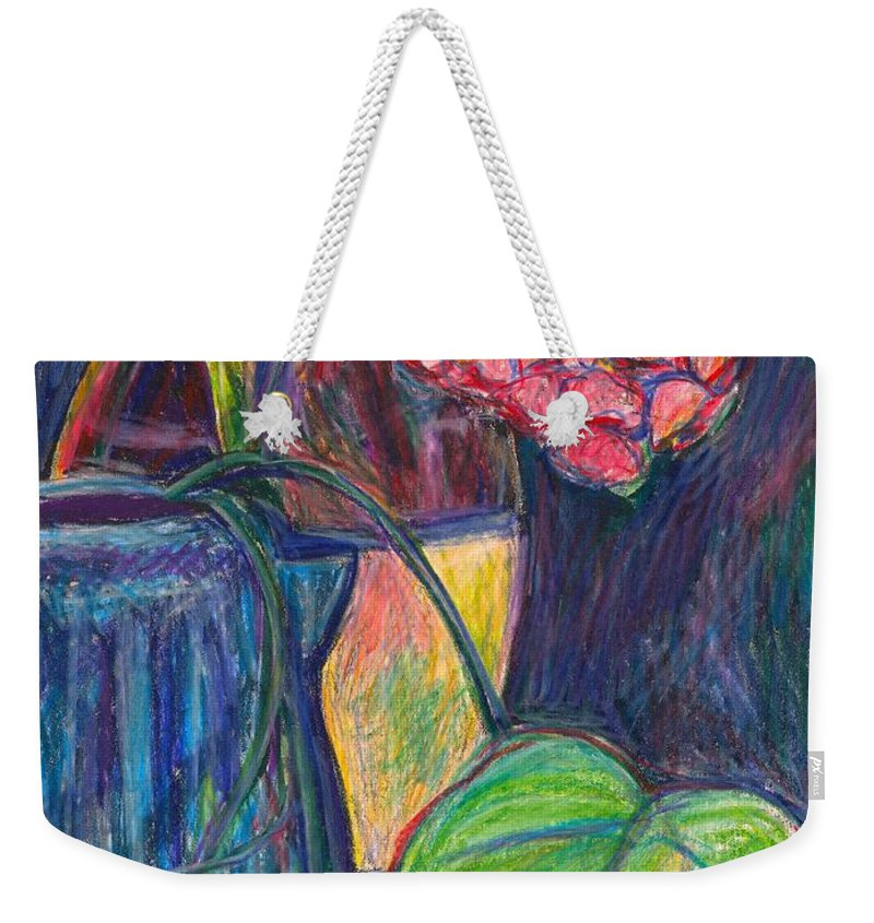 Still Life Weekender Tote Bag featuring the drawing Pink Flowers This Time by Kendall Kessler