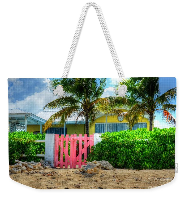 Gate Weekender Tote Bag featuring the photograph Pink Gate by Debbi Granruth