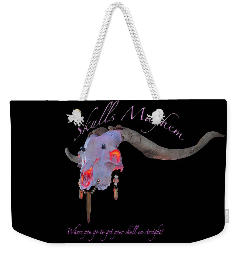 Mountain Goat Art Weekender Tote Bag featuring the photograph Pink Goats by Mayhem Mediums