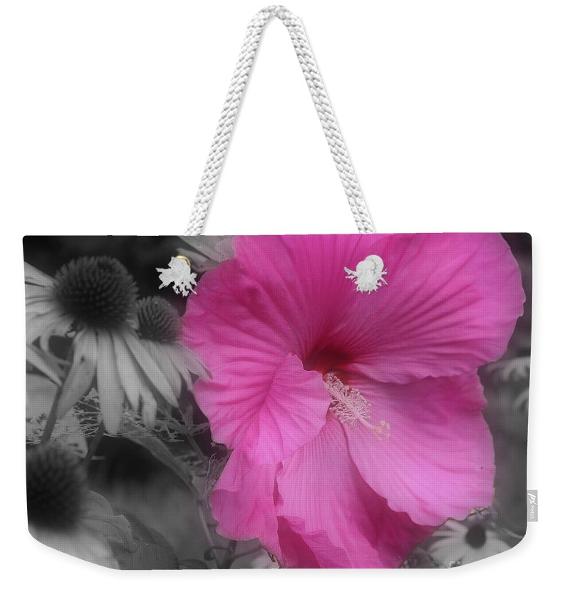 Hibiscus Weekender Tote Bag featuring the photograph Pink Hibiscus In Partial Color by Smilin Eyes Treasures