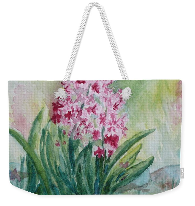 Hyacint Weekender Tote Bag featuring the painting Pink Hyacint by Anna Ruzsan