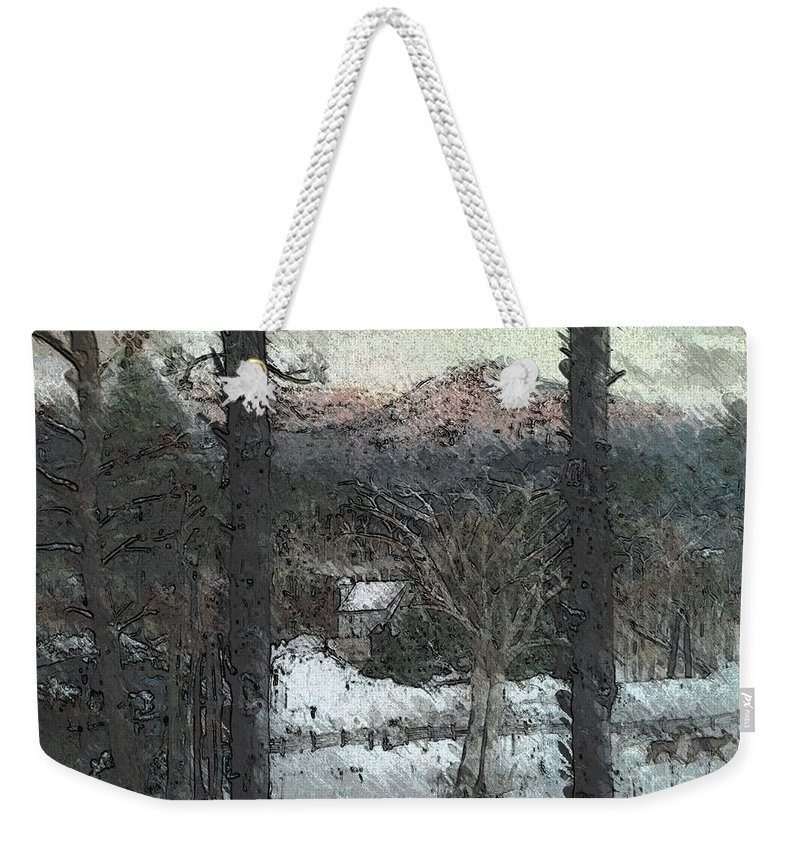 Snow Weekender Tote Bag featuring the painting Snow - Pink Mountain - Blueridge Mountains by Jan Dappen