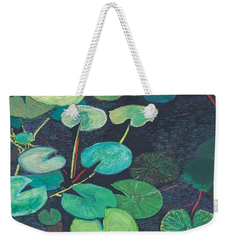 Landscape Weekender Tote Bag featuring the painting Pink Lilies by Allan P Friedlander