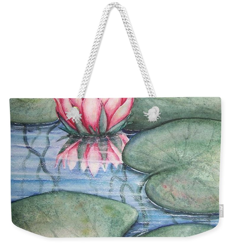 Pond Weekender Tote Bag featuring the painting Pink Lily by Conni Reinecke
