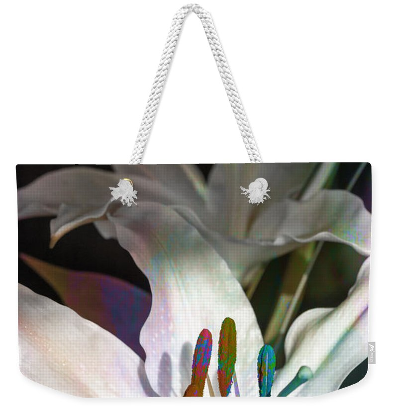 Botanicals Weekender Tote Bag featuring the photograph Pink Lily Dance by Linda Dunn