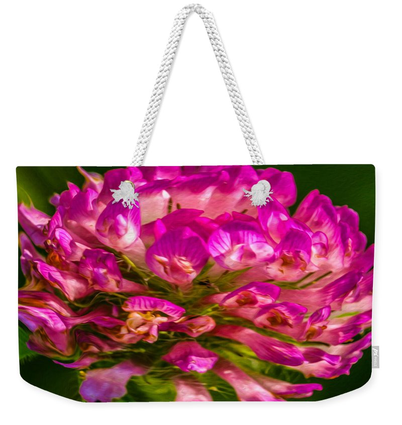 Abstract Weekender Tote Bag featuring the painting Pink Mystery Flower by Omaste Witkowski