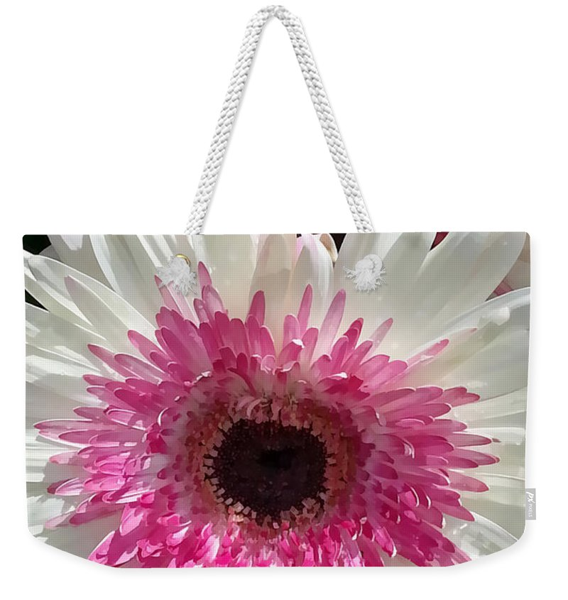 Portrait Weekender Tote Bag featuring the photograph Pink N White Gerber Daisy by Sami Martin