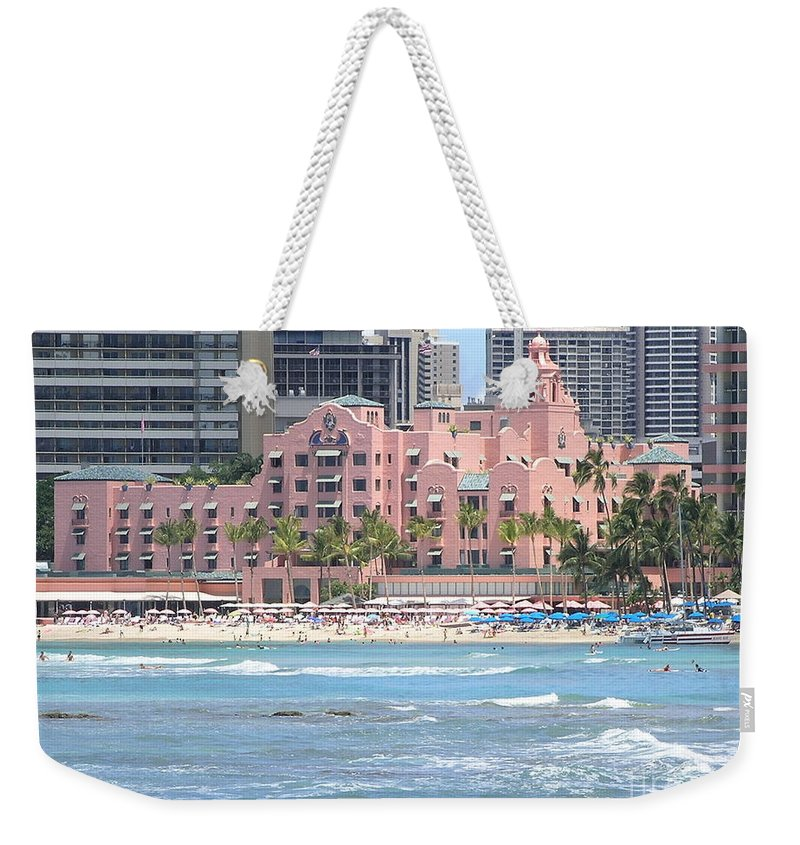 Beach Weekender Tote Bag featuring the photograph Pink Palace On Waikiki Beach by Mary Deal