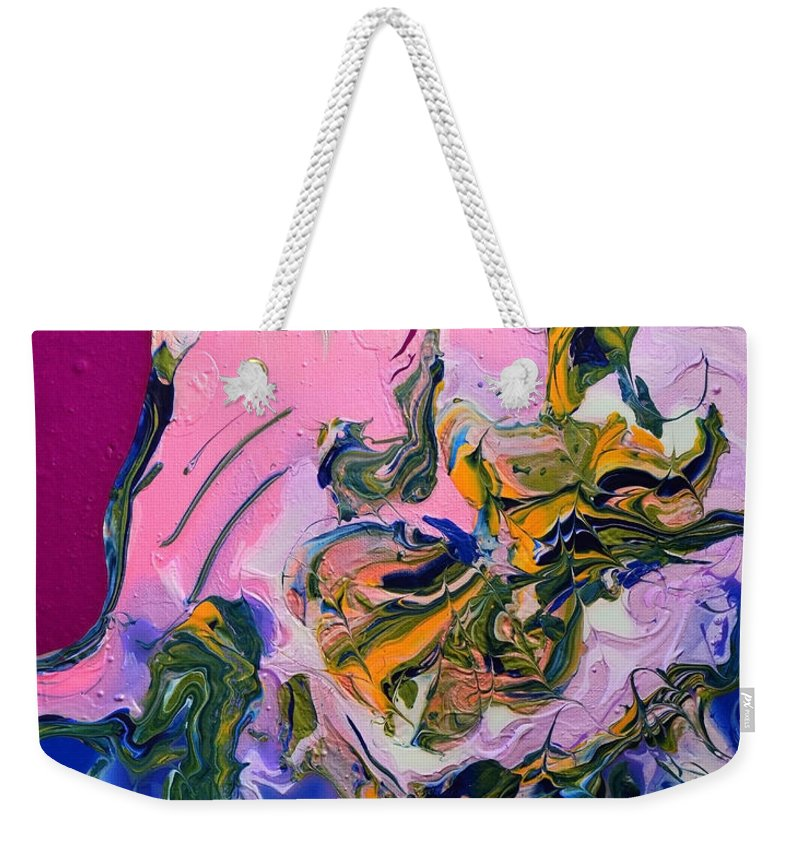 Parrot Weekender Tote Bag featuring the painting Pink Parrot by Donna Blackhall