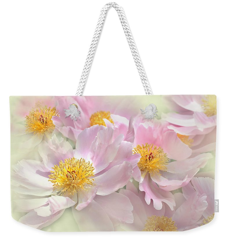 Peony Weekender Tote Bag featuring the photograph Pink Peony Flowers Parade by Jennie Marie Schell